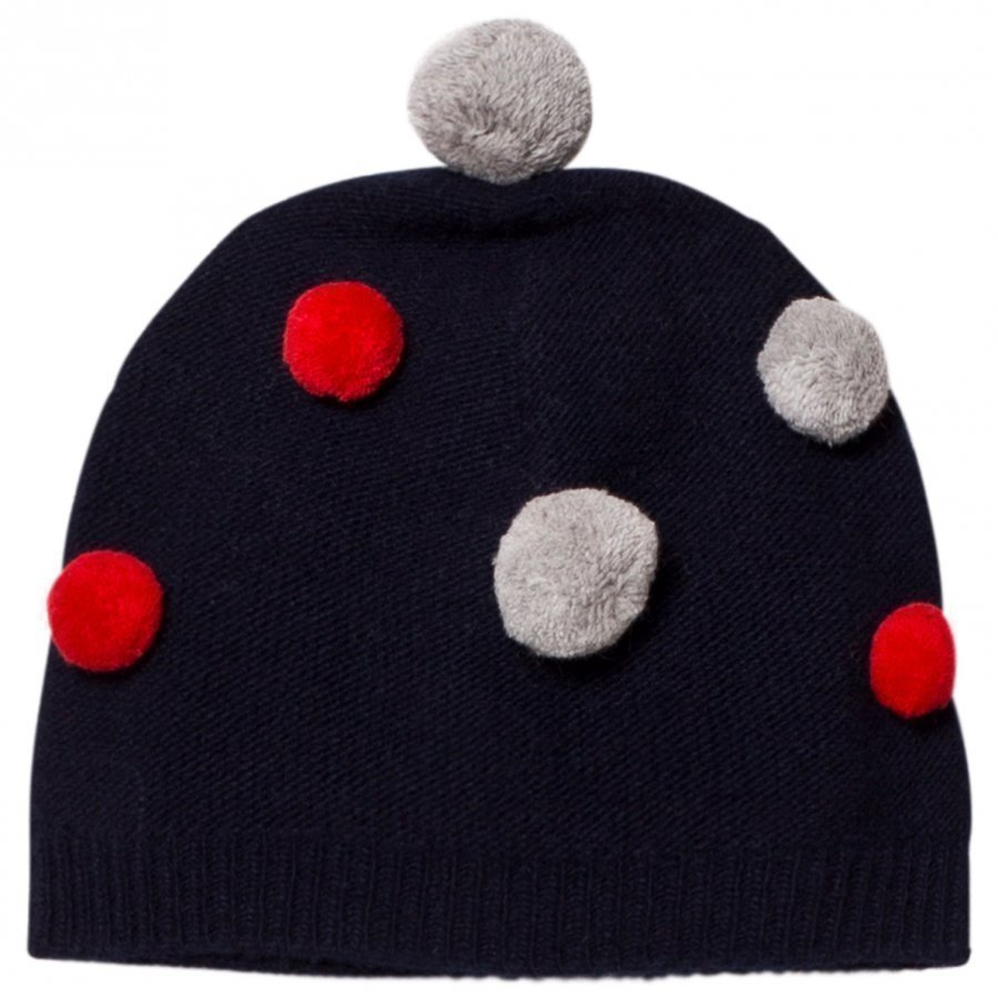 Il Gufo Navy And Multi Pom Pom Beanie Pipo