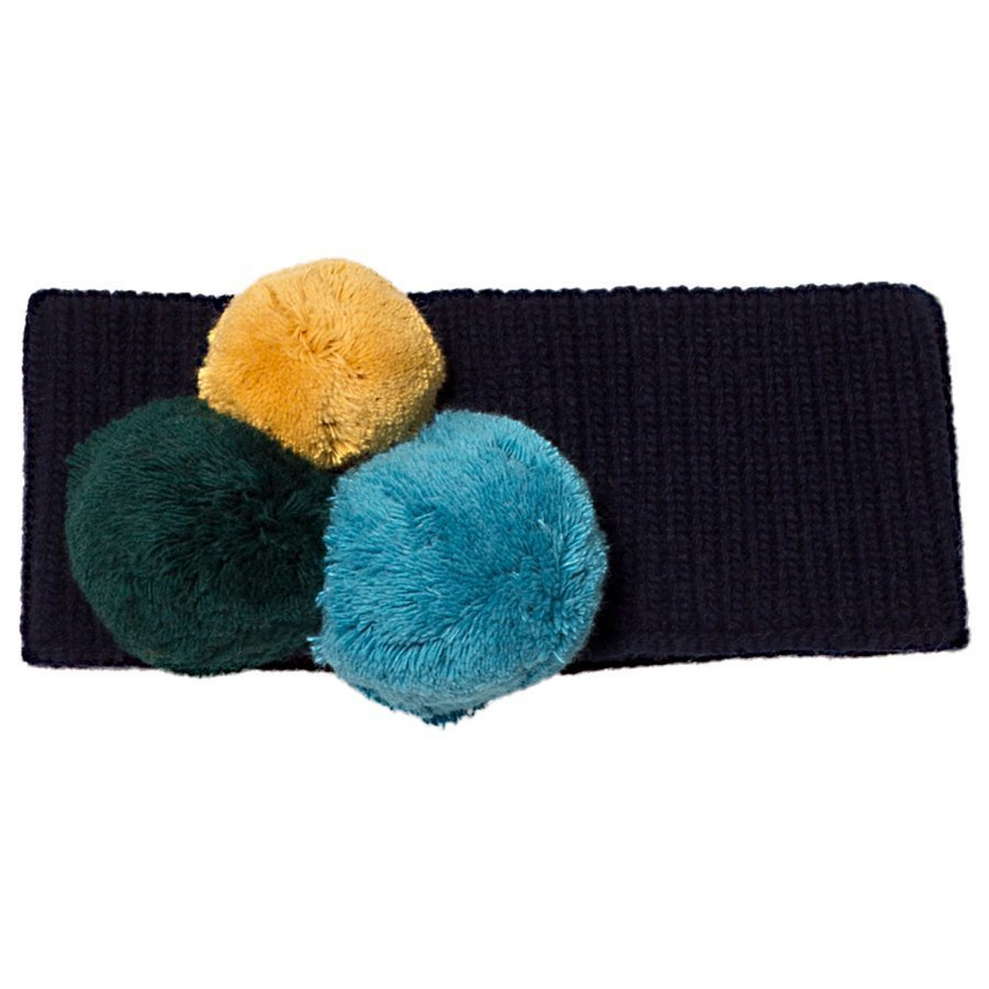 Il Gufo Navy And Multi Pom Pom Knit Headband Hiuspanta