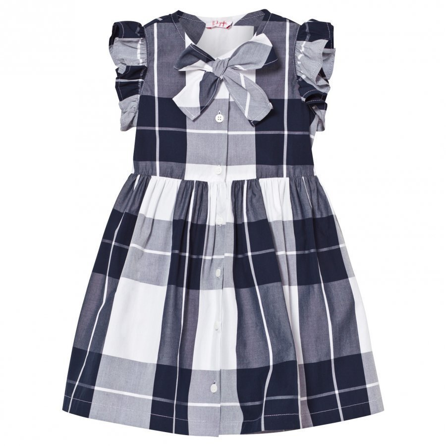 Il Gufo Navy Check Frill Sleeve Dress With Bow Front Juhlamekko