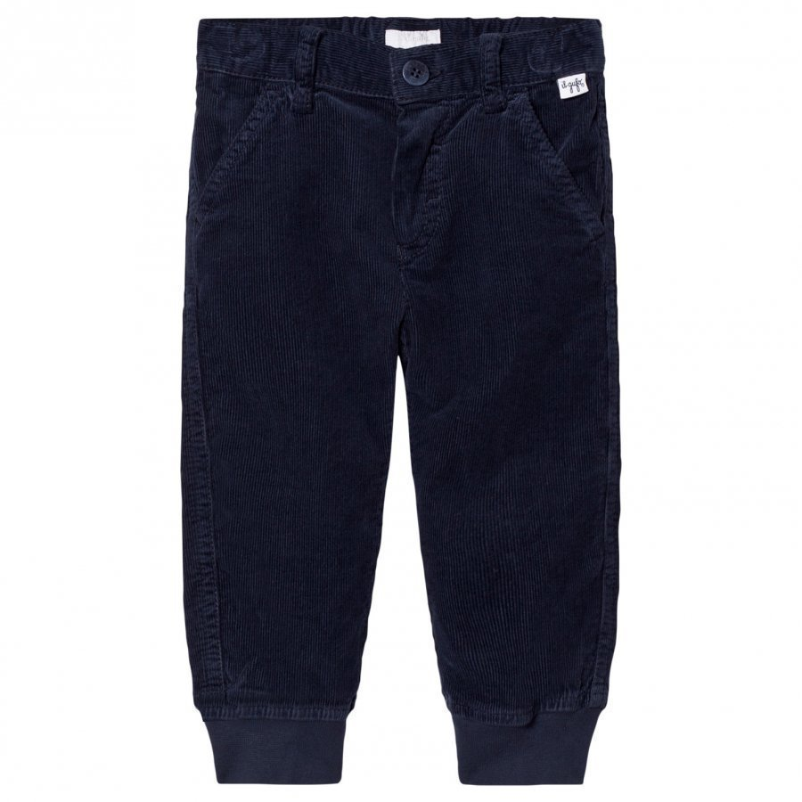 Il Gufo Navy Cord Cuffed Trousers Housut