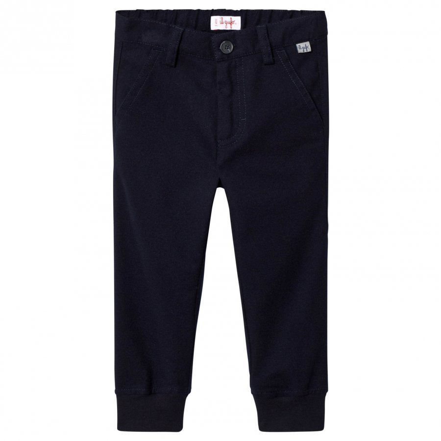 Il Gufo Navy Cuffed Trousers Housut