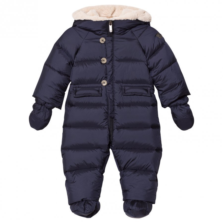 Il Gufo Navy Down Snowsuit With Detachable Mittens And Booties Vauvan Haalari