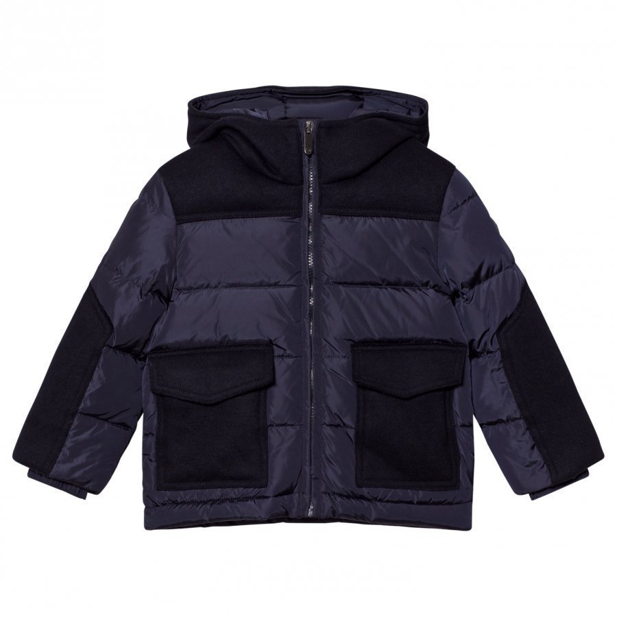 Il Gufo Navy Padded Jacket With Wool Broadcloth Patches Toppatakki