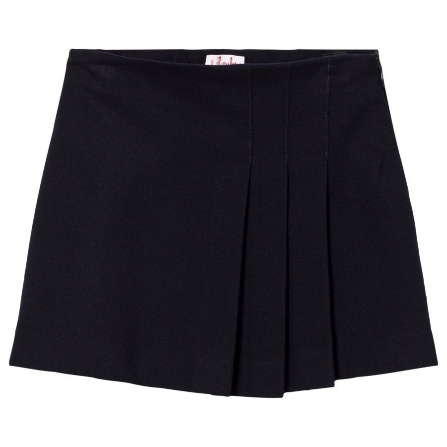 Il Gufo Navy Pleat Wool Skirt Kellohame