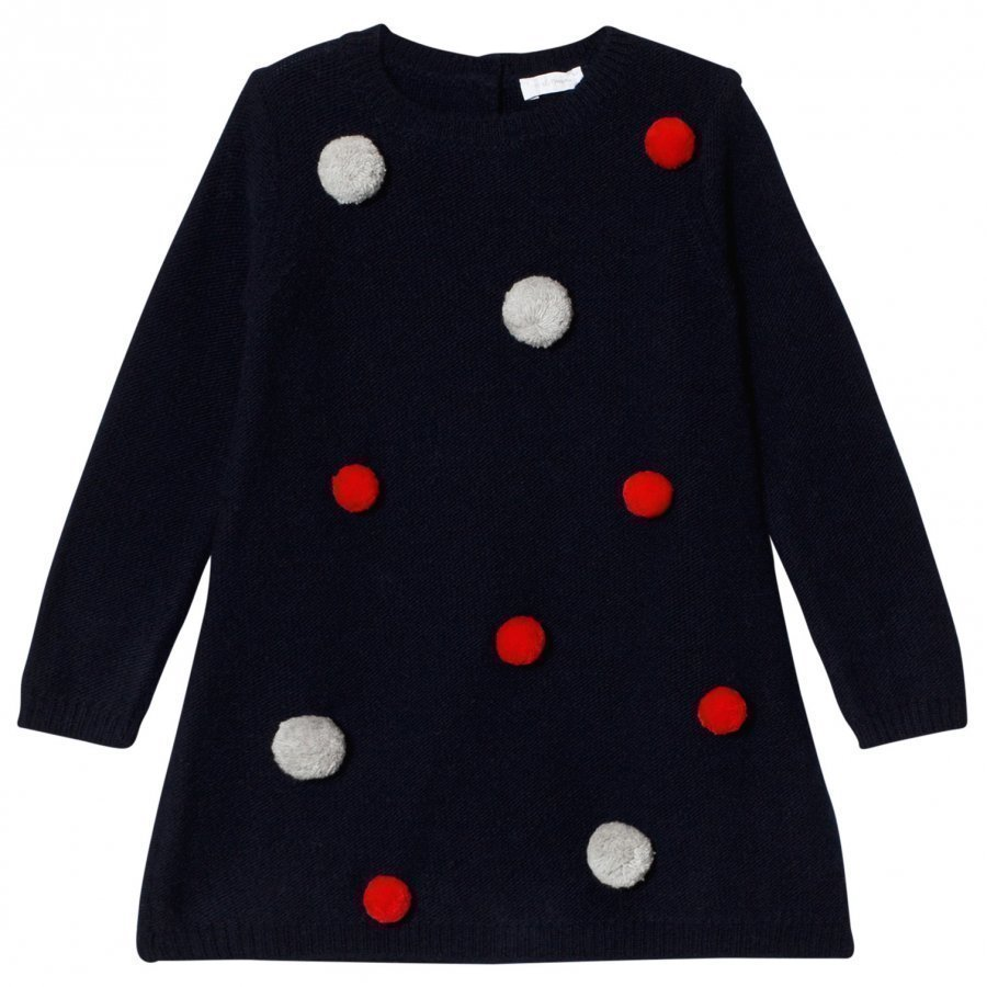 Il Gufo Navy Pom Pom Knit Dress Mekko