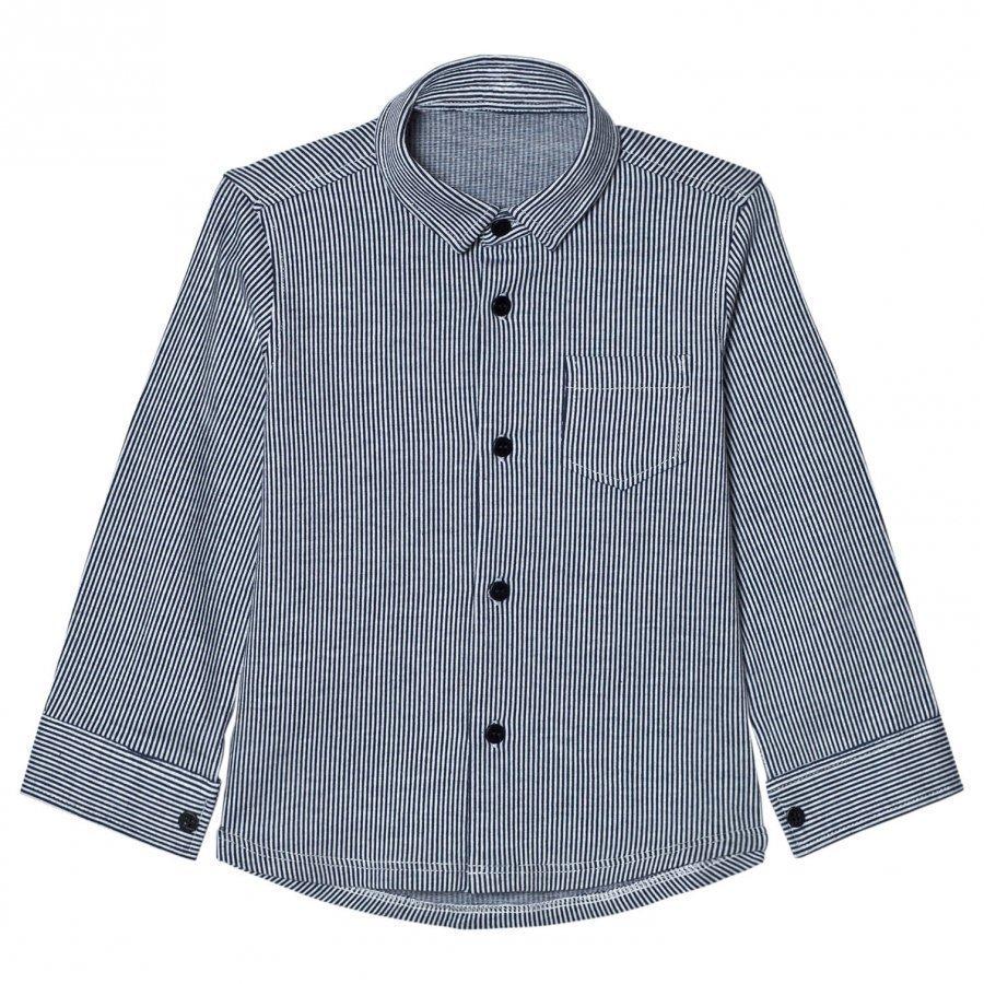 Il Gufo Navy Stripe Jersey Shirt Kauluspaita