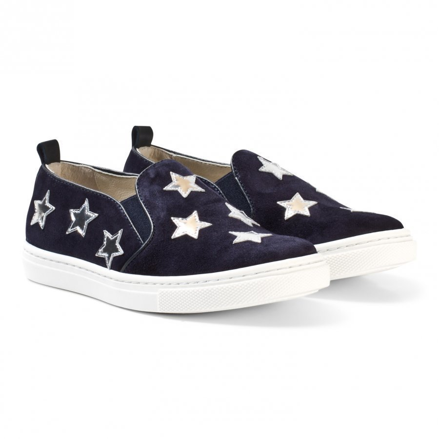 Il Gufo Navy Suede And Leather Star Slip Ons Slip On Kengät