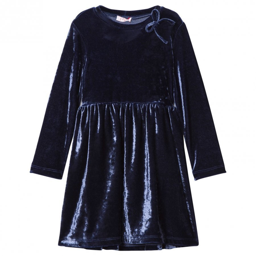 Il Gufo Navy Velvet Party Dress Juhlamekko