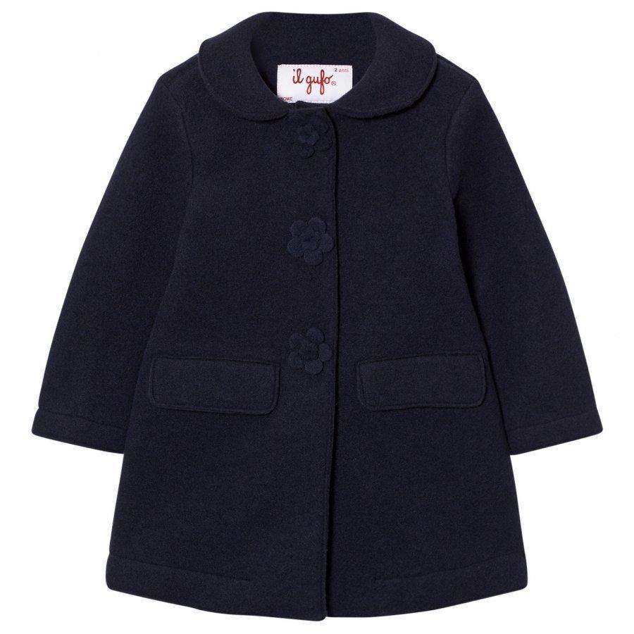 Il Gufo Navy Wool Coat With Flower Buttons Talvitakki