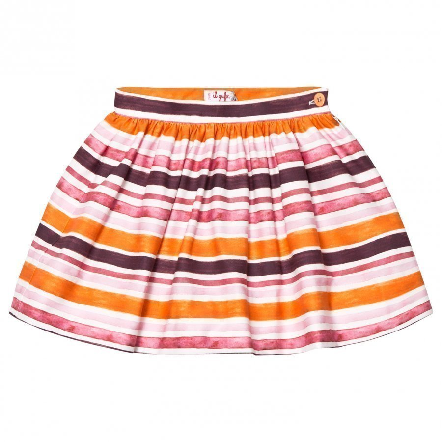 Il Gufo Orange And Pink Stripe Skirt Lyhyt Hame