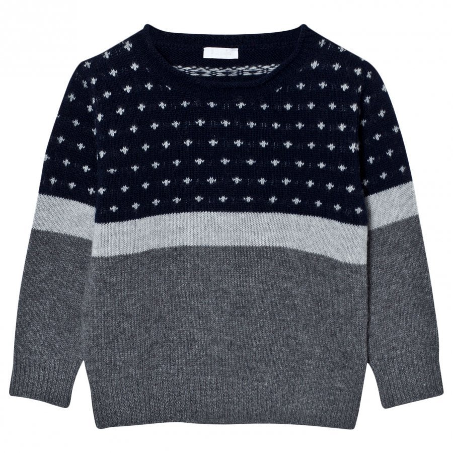 Il Gufo Patterned Sweater Navy/Grey Paita