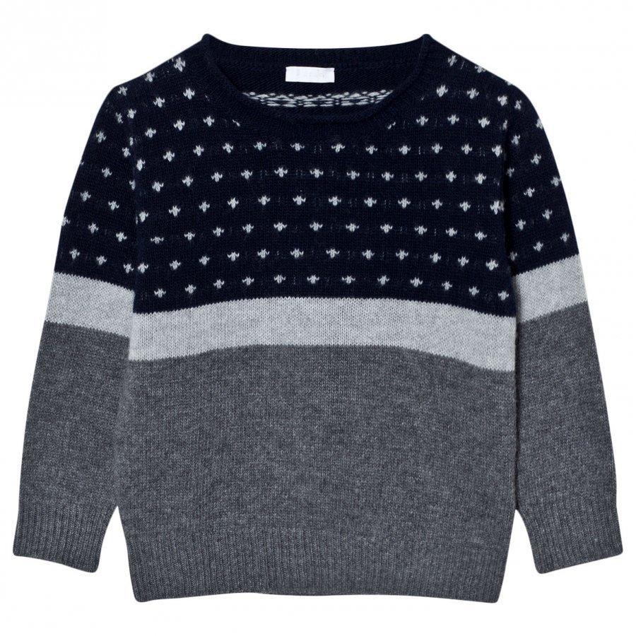 Il Gufo Patterned Sweater Navy/Grey Paita