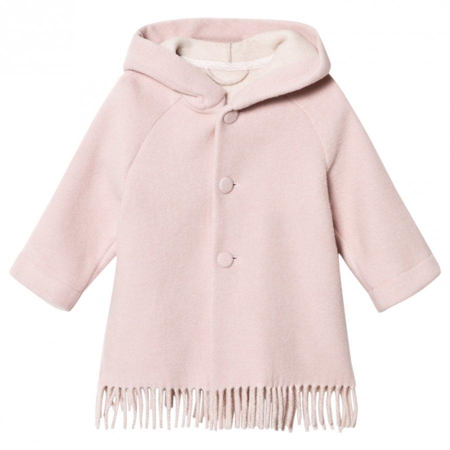 Il Gufo Pink Brushed Wool Fringe Hooded Coat Talvitakki