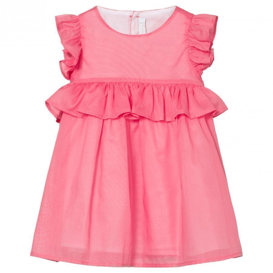 Il Gufo Pink Cotton Frill Sleeve Peplum Dress Juhlamekko