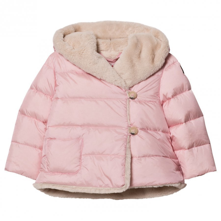 Il Gufo Pink Faux Fur Lined Hooded Coat Talvitakki