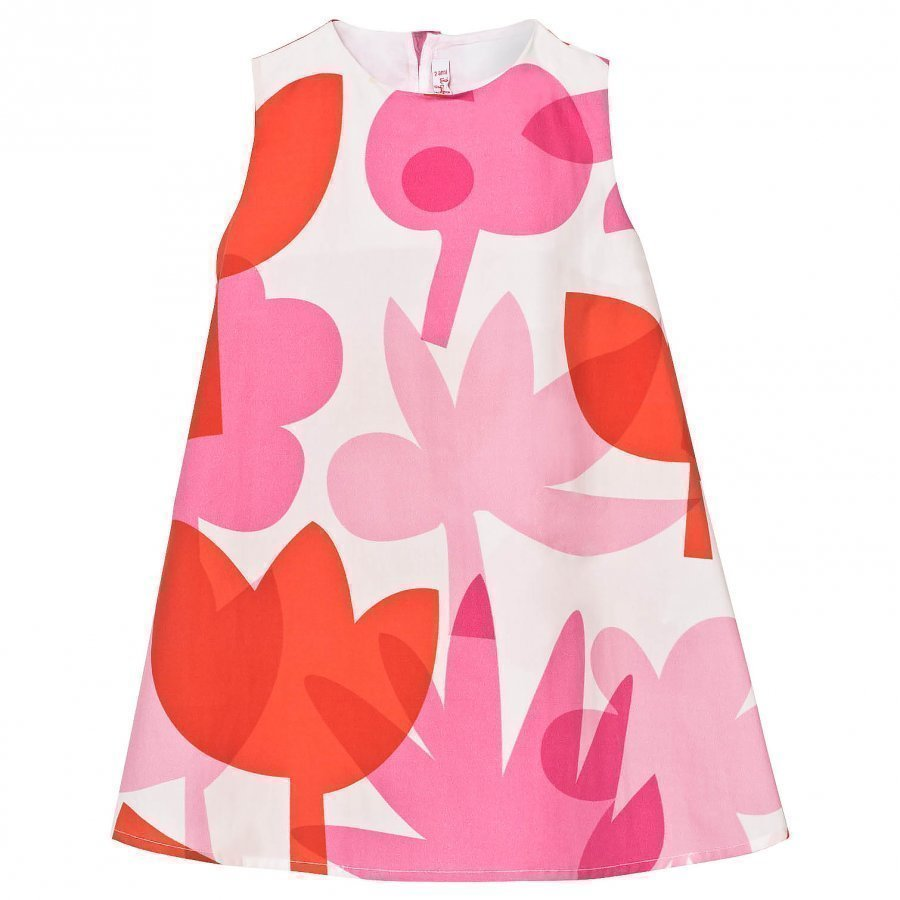 Il Gufo Pink Orange Abstract Floral Dress Juhlamekko