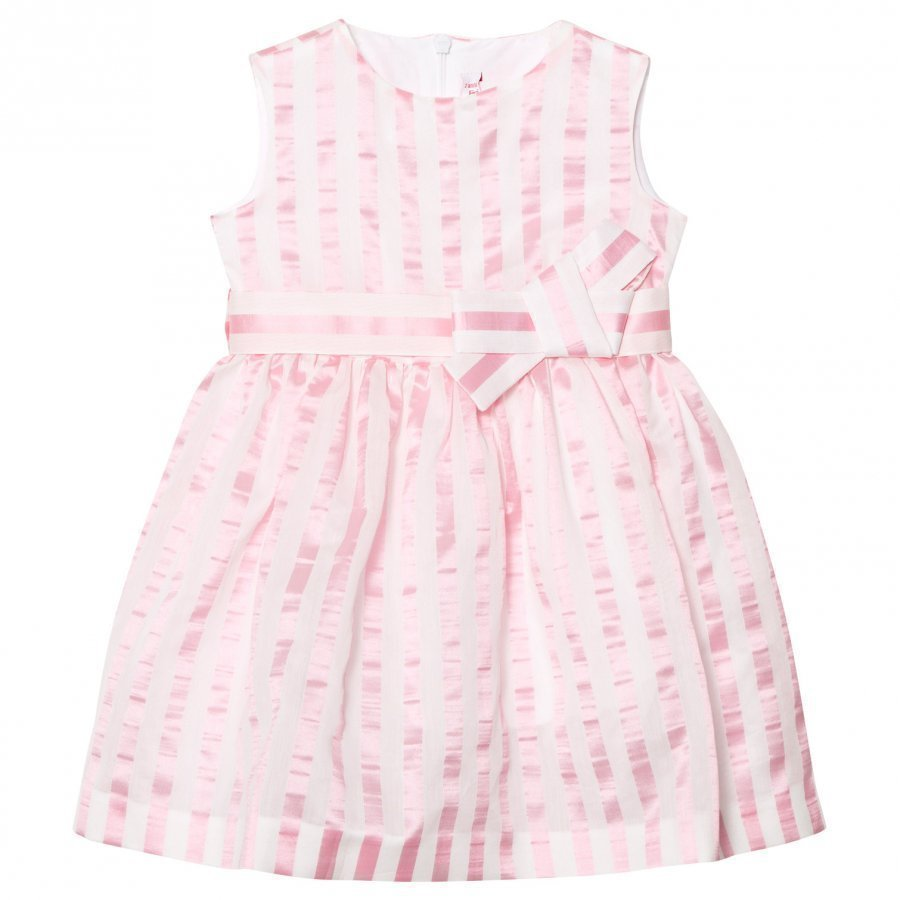 Il Gufo Pink Stripe Seersucker Silk Bow Dress Juhlamekko