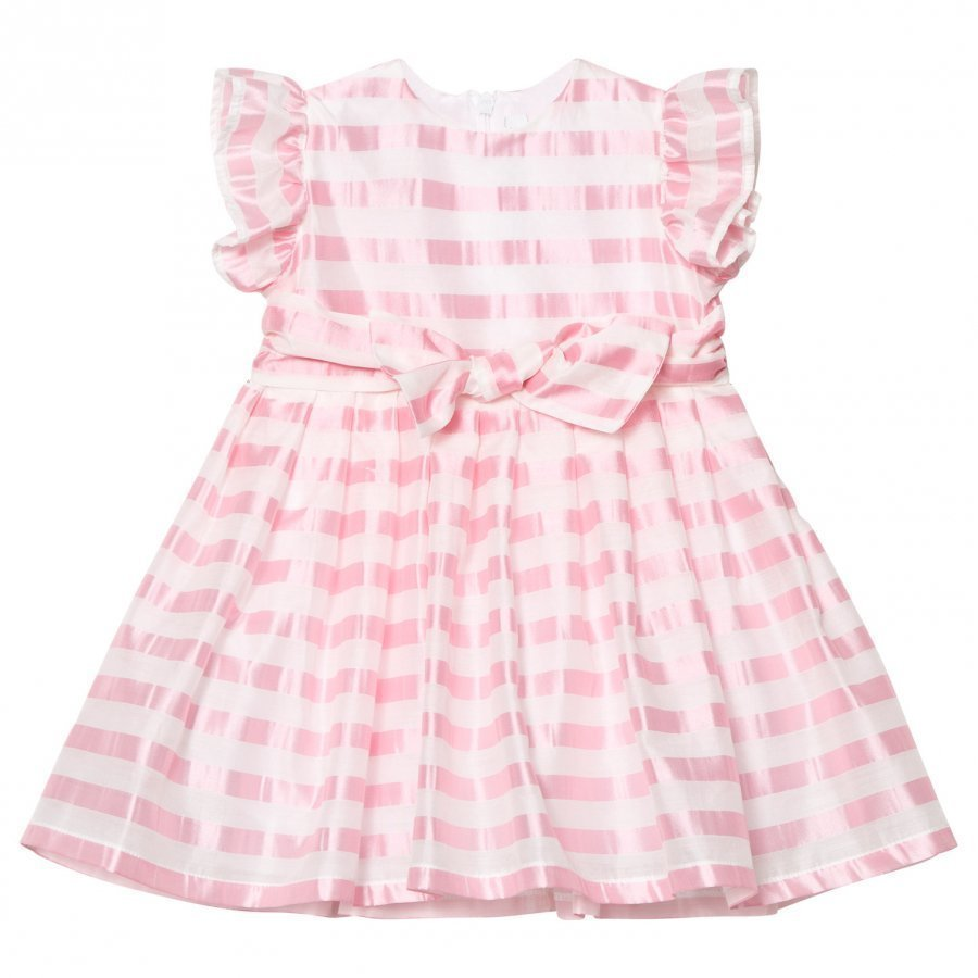 Il Gufo Pink Stripe Silk Seersucker Frill And Bow Dress Juhlamekko