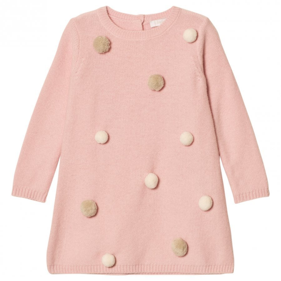 Il Gufo Pink/White Pom Pom Knit Dress Mekko