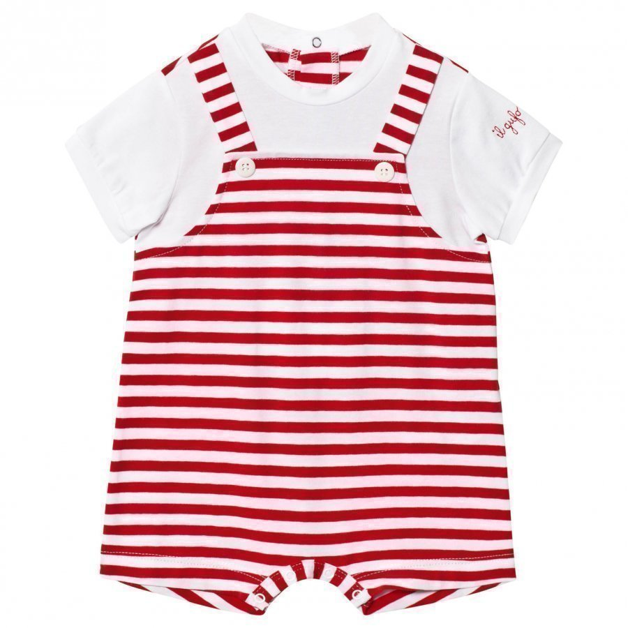 Il Gufo Red And White Mock Overalls Romper Puku