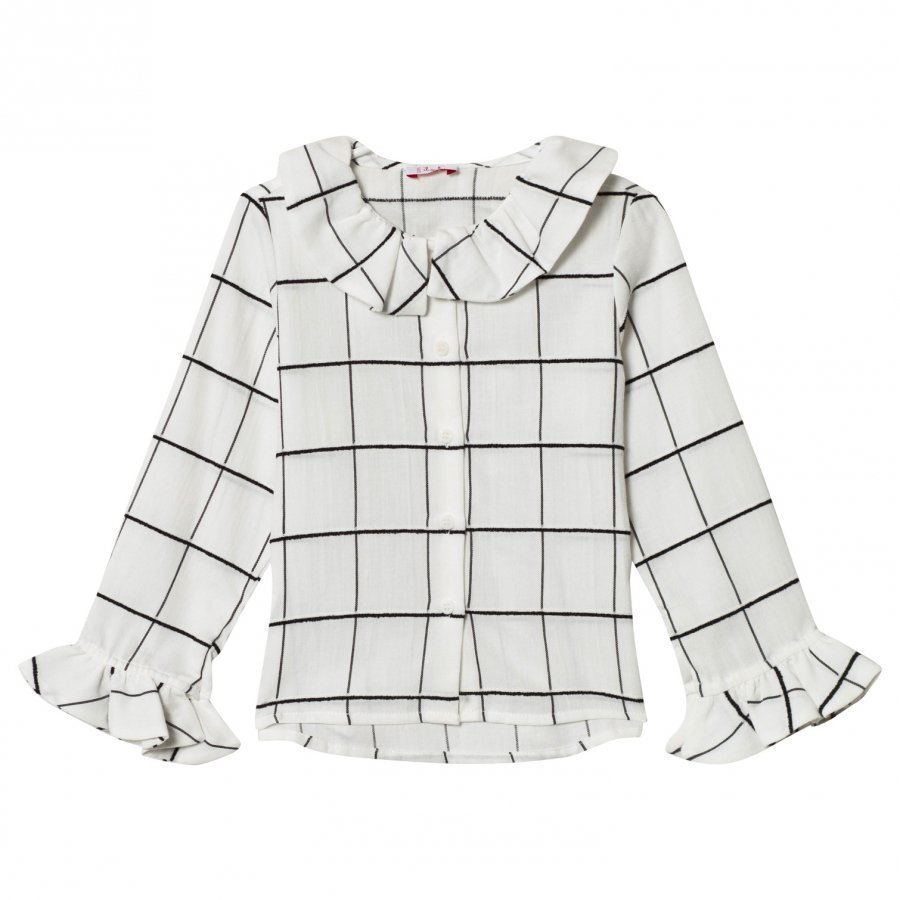 Il Gufo White And Black Check Frill Cuff Blouse Pusero