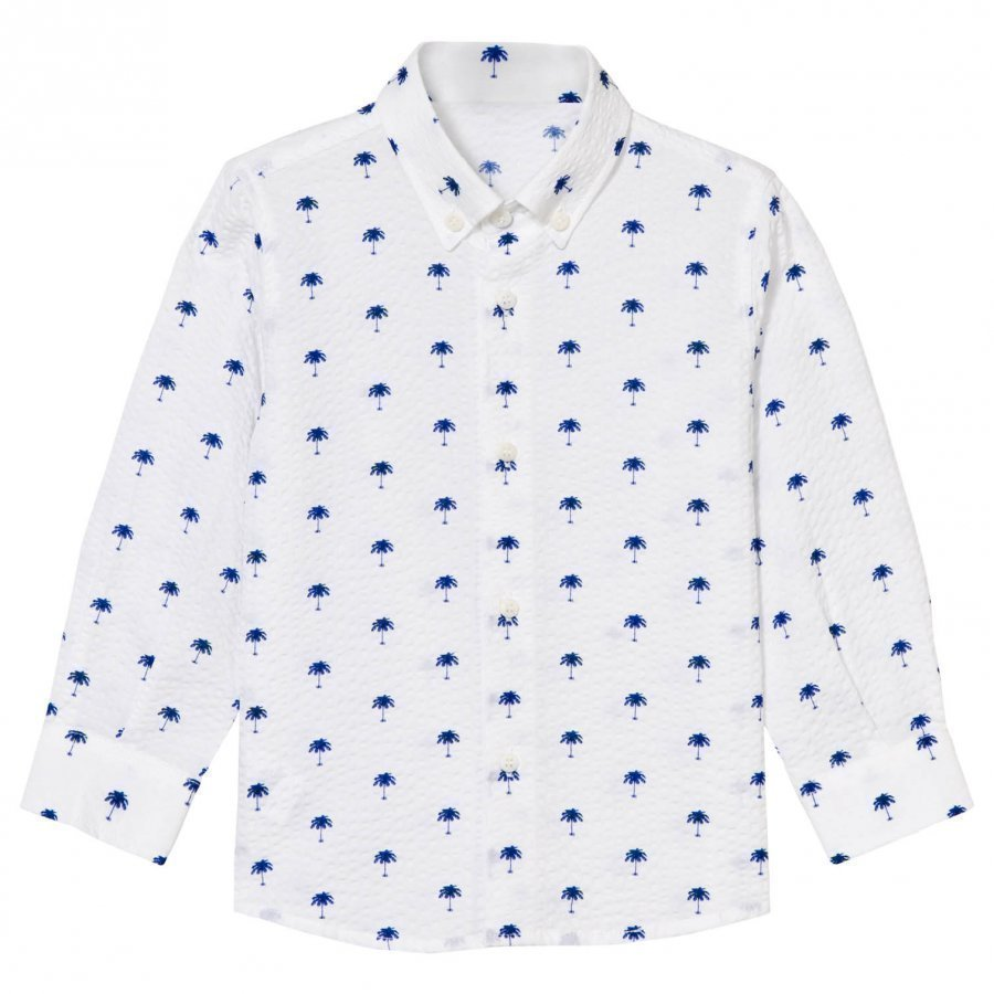Il Gufo White And Blue Palm Print Seersucker Shirt Kauluspaita