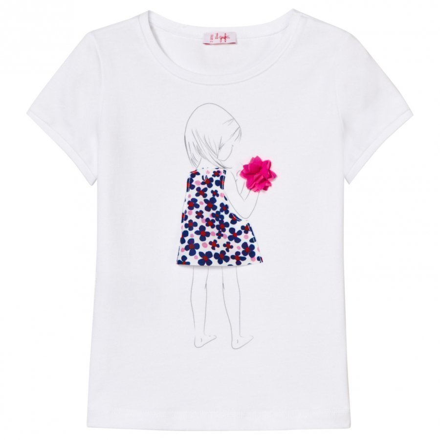 Il Gufo White Applique Flower Tee T-Paita