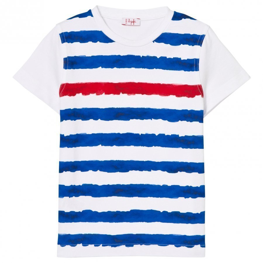 Il Gufo White Blue Red Stripe Tee T-Paita