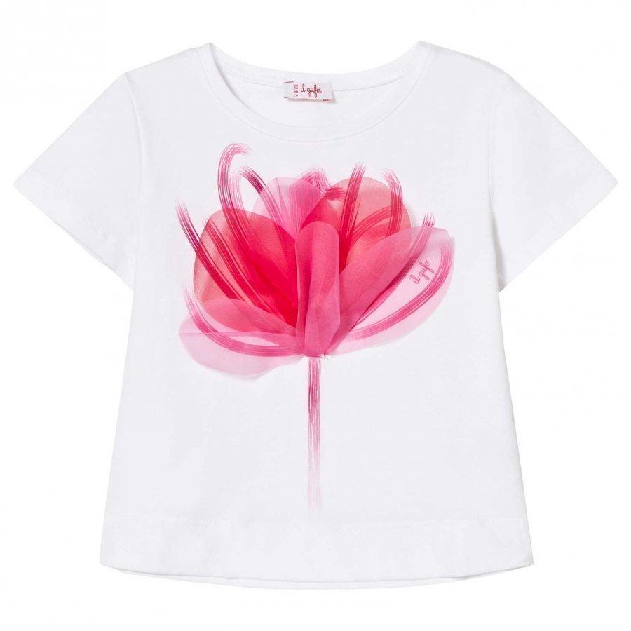 Il Gufo White Flower Print Applique Trapeze Tee T-Paita