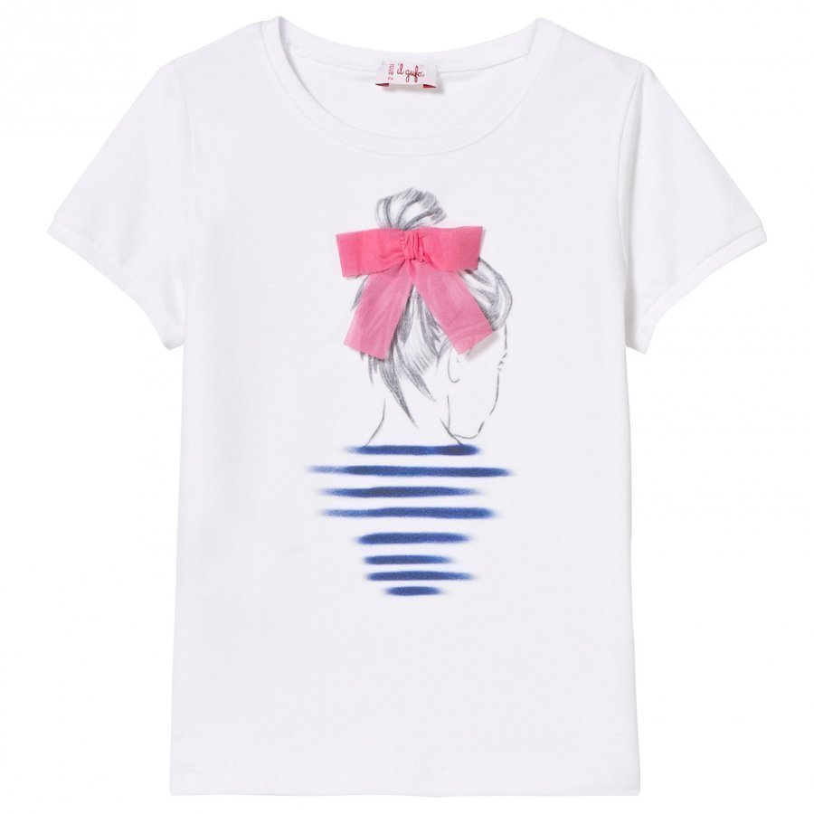 Il Gufo White Girl Print Applique Bow Detail Tee T-Paita