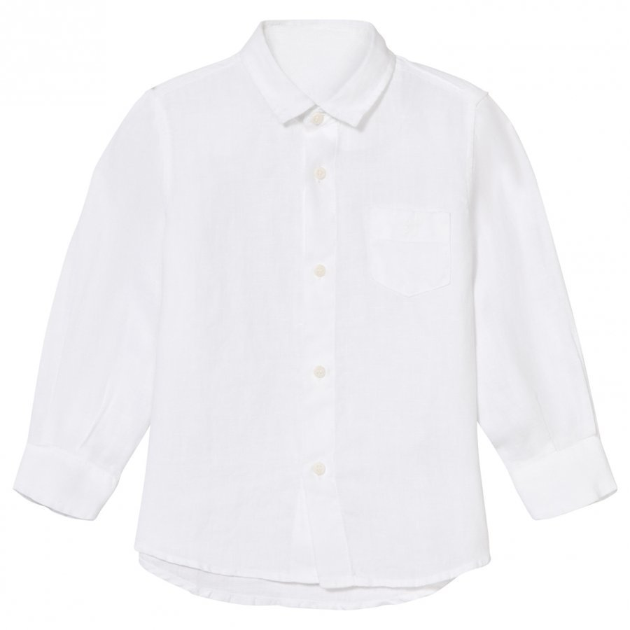 Il Gufo White Long Sleeve Linen Shirt Kauluspaita