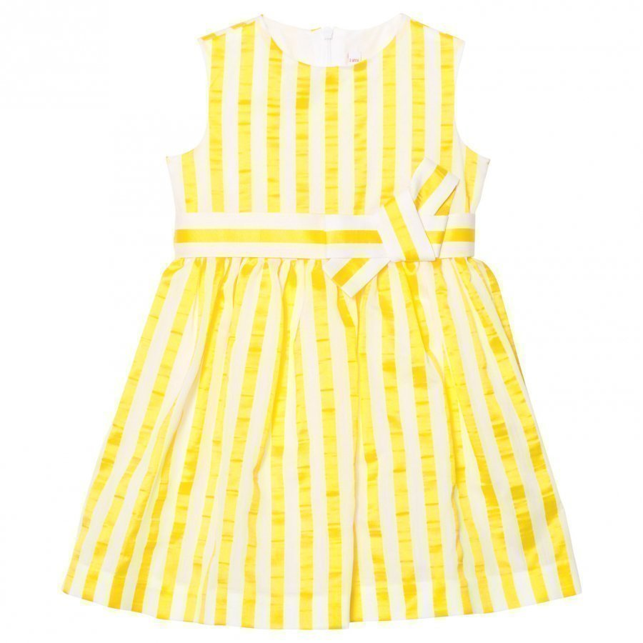 Il Gufo Yellow Stripe Seersucker Silk Bow Dress Juhlamekko