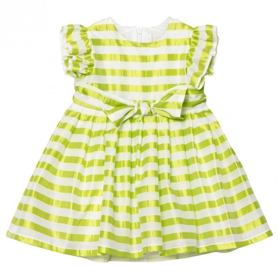 Il Gufo Yellow Stripe Silk Seersucker Frill Bow Dress Juhlamekko