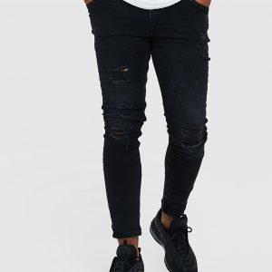 Illusive London Skinny Washed Ripped Jeans Musta
