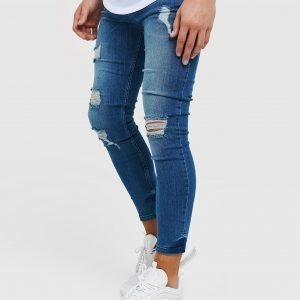 Illusive London Skinny Washed Ripped Jeans Sininen