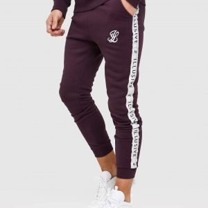 Illusive London Tape Fleece Track Pants Burgundy / Silver