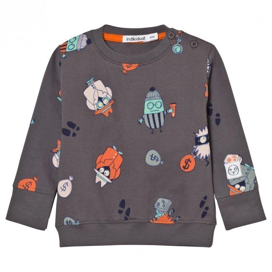 Indikidual Dark Grey Detective Print Sweatshirt Oloasun Paita