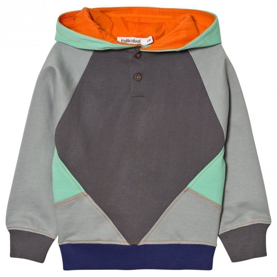 Indikidual Grey Color Patches Hoodie Huppari