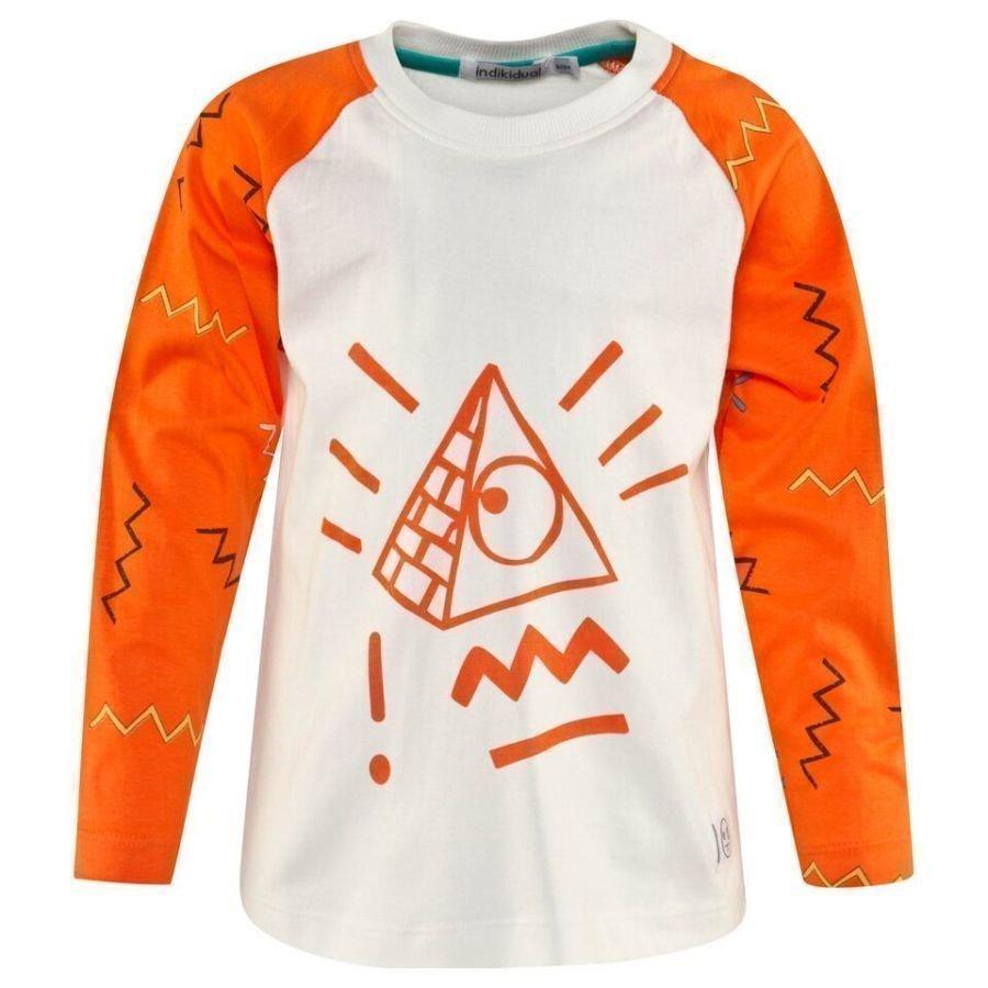 Indikidual Orange And White Pyramid Print Tee Pitkähihainen T-Paita
