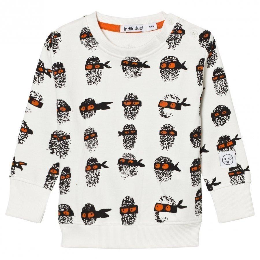 Indikidual White Finger Print Sweatshirt Oloasun Paita