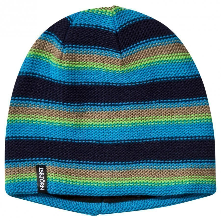Isbjörn Of Sweden Stripes Knitted Hat Seagrass Pipo