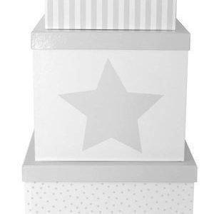 Jabadabado Kannelliset säilytyslaatikot 3 kpl Harmaa/Valkoinen