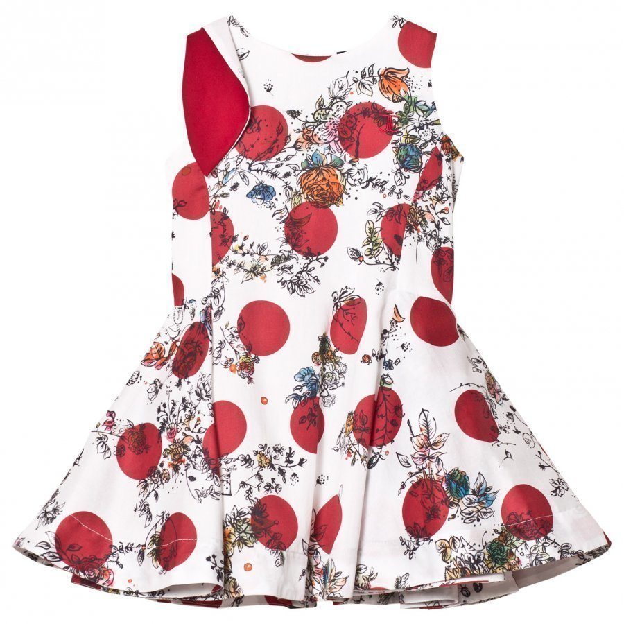 Jessie & James Anna Dress White And Red Floral Juhlamekko