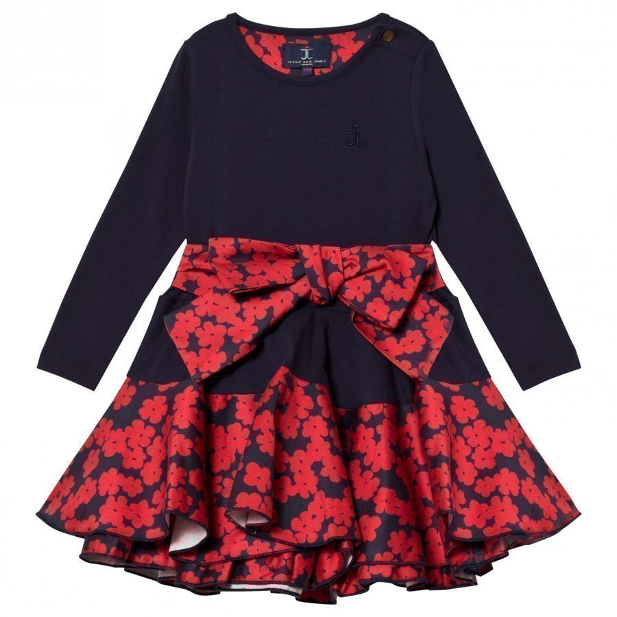 Jessie & James Navy Poppies Print Bow Detail Dress Juhlamekko