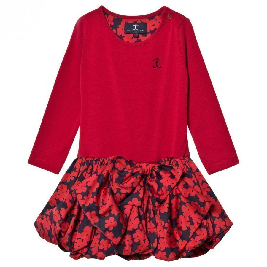 Jessie & James Red Floral Scallop Jersey Scallop Dress Juhlamekko