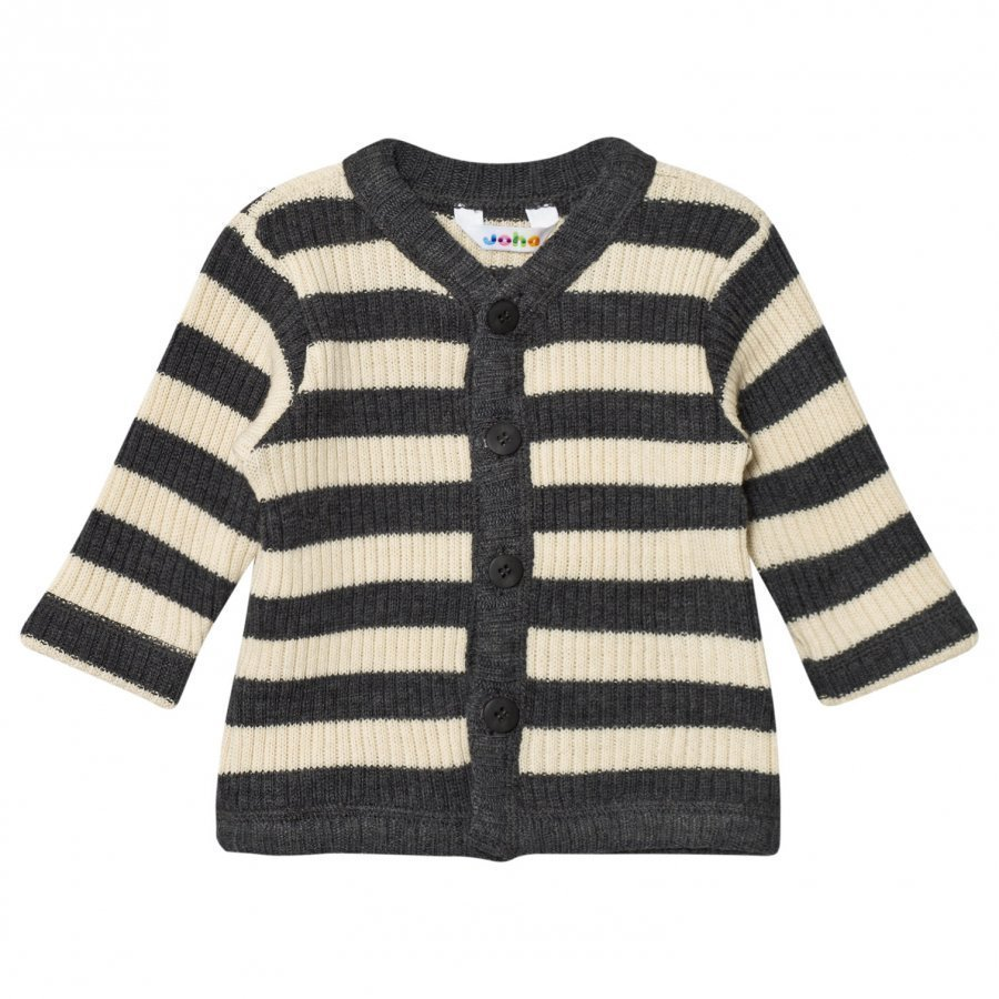 Joha Black And Cream Stripe Cardigan Neuletakki
