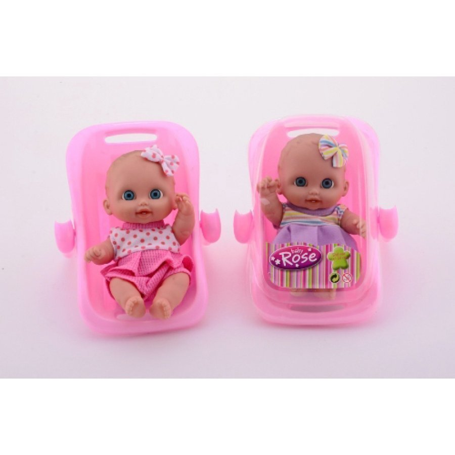 Johntoy Girls Baby Rose Nukke Kantotuolissa
