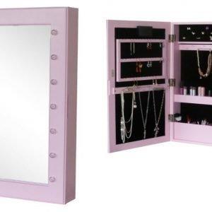Jox Trend Seinäpeili & korusäilytys LED-valaistuksella Vaaleanpunainen