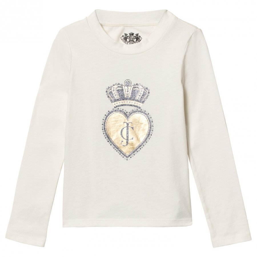 Juicy Couture Cream Scotty Dog And Heart Glitter Tee T-Paita
