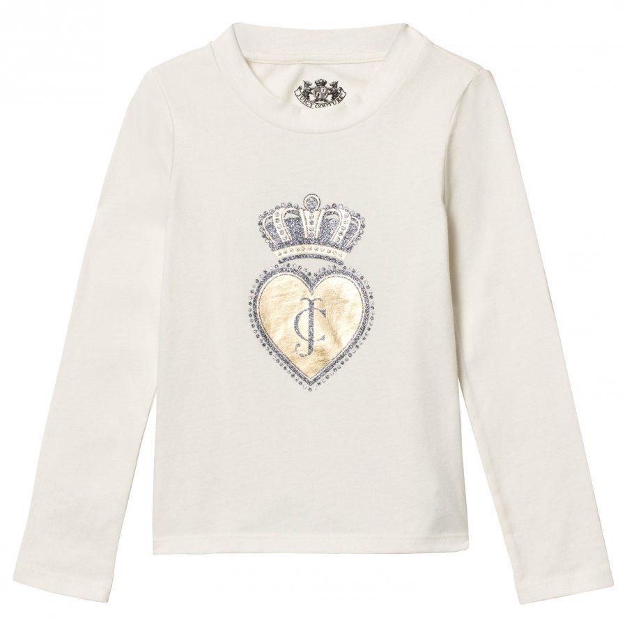 Juicy Couture Cream Scotty Dog And Heart Glitter Tee T-Paita
